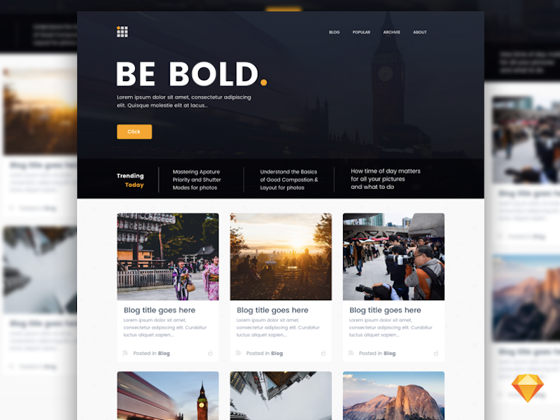 Bold Blog Page Template for Sketch