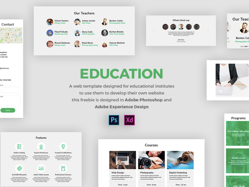 adobe xd and psd education ui templates psddd co