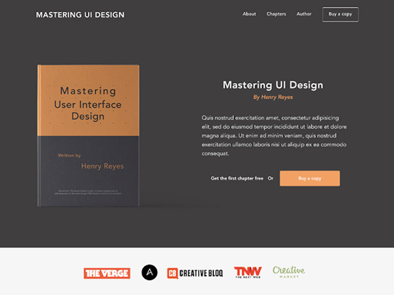 EBook Landing Page PSD Template
