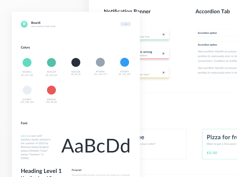 Boardi User Interface Style Guide for Sketch